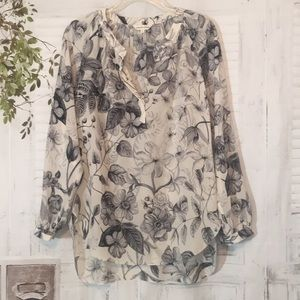 Rebecca Taylor cream silk floral long sleeve top